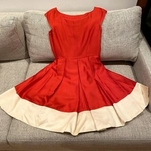 Kate Spade Red Cape Sleeve Fit and Flare Dress